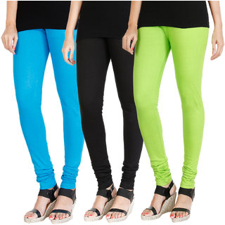 HRINKAR LIGHT BLUE BLACK FLUROSCENT GREEN Soft Cotton Lycra Plain girls leggings combo Pack of 3 Size - L, XL, XXL - HLGCMB0196-L