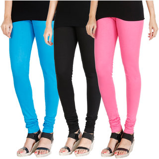 HRINKAR LIGHT BLUE BLACK LIGHT PINK Soft Cotton Lycra Plain leggings for womens combo Pack of 3 Size - L, XL, XXL - HLGCMB0197-XXL