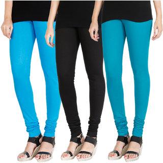 HRINKAR LIGHT BLUE BLACK BLUE Soft Cotton Lycra Plain womens leggings combo Pack of 3 Size - L, XL, XXL - HLGCMB0199-L