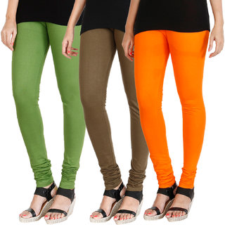 HRINKAR LIGHT GREEN MEHENDI BRIGHT ORANGE Soft Cotton Lycra Plain Salwar leggings combo Pack of 3 Size - L, XL, XXL - HLGCMB0309-L