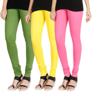 HRINKAR LIGHT GREEN LIGHT YELLOW LIGHT PINK Soft Cotton Lycra Plain leggings for womens combo Pack of 3 Size - L, XL, XXL - HLGCMB0321-L