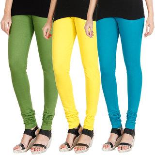HRINKAR LIGHT GREEN LIGHT YELLOW BLUE Soft Cotton Lycra Plain leggings for girls combo Pack of 3 Size - L, XL, XXL - HLGCMB0323-XL