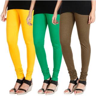 HRINKAR MANGO YELLOW LIGHT GREEN MEHENDI Soft Cotton Lycra Plain leggings Pack of 3 Size - L, XL, XXL - HLGCMB0376-L