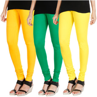 HRINKAR MANGO YELLOW LIGHT GREEN LIGHT YELLOW Soft Cotton Lycra Plain leggings for womens combo Pack of 3 Size - L, XL, XXL - HLGCMB0377-L