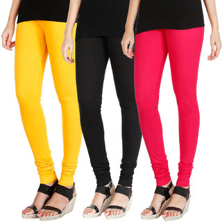 HRINKAR MANGO YELLOW BLACK DARK PINK Soft Cotton Lycra Plain leggings womens and girls combo Pack of 3 Size - L, XL, XXL - HLGCMB0394-L