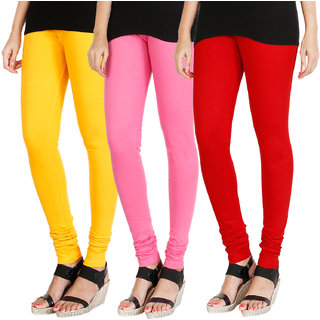 HRINKAR MANGO YELLOW LIGHT PINK RED Soft Cotton Lycra Plain leggings for womens combo Pack of 3 Size - L, XL, XXL - HLGCMB0445-XXL