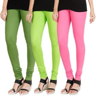 HRINKAR LIGHT GREEN FLUROSCENT GREEN LIGHT PINK Soft Cotton Lycra Plain leggings for womens combo Pack of 3 Size - L, XL, XXL - HLGCMB0347-L