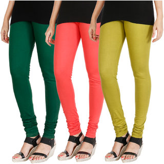 HRINKAR BOTTLE GREEN PEACH LIGHT GREEN Soft Cotton Lycra Plain leggings Pack of 3 Size - L, XL, XXL - HLGCMB0496-L