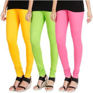 HRINKAR MANGO YELLOW FLUROSCENT GREEN LIGHT PINK Soft Cotton Lycra Plain leggings for womens combo Pack of 3 Size - L, XL, XXL - HLGCMB0438-XL