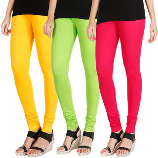 HRINKAR MANGO YELLOW FLUROSCENT GREEN DARK PINK Soft Cotton Lycra Plain Salwar leggings combo Pack of 3 Size - L, XL, XXL - HLGCMB0439-XXL