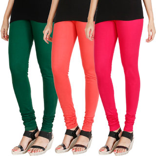 HRINKAR BOTTLE GREEN PEACH DARK PINK Soft Cotton Lycra Plain leggings for girls combo Pack of 3 Size - L, XL, XXL - HLGCMB0499-XL