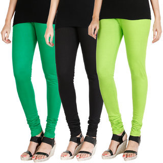 HRINKAR LIGHT GREEN BLACK FLUROSCENT GREEN Soft Cotton Lycra Plain leggings Pack of 3 Size - L, XL, XXL - HLGCMB0536-L