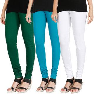 HRINKAR BOTTLE GREEN BLUE WHITE Soft Cotton Lycra Plain leggings for womens combo Pack of 3 Size - L, XL, XXL - HLGCMB0529-L
