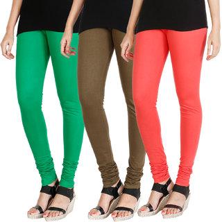 HRINKAR LIGHT GREEN MEHENDI PEACH Soft Cotton Lycra Plain womens leggings combo Pack of 3 Size - L, XL, XXL - HLGCMB0543-L