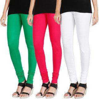 HRINKAR LIGHT GREEN DARK PINK WHITE Soft Cotton Lycra Plain girls leggings combo Pack of 3 Size - L, XL, XXL - HLGCMB0593-XL
