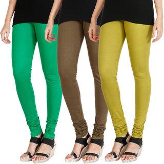 HRINKAR LIGHT GREEN MEHENDI LIGHT GREEN Soft Cotton Lycra Plain leggings for womens combo Pack of 3 Size - L, XL, XXL - HLGCMB0545-L