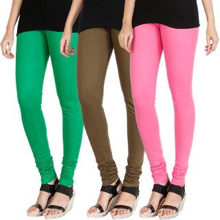 HRINKAR LIGHT GREEN MEHENDI LIGHT PINK Soft Cotton Lycra Plain leggings for womens combo Pack of 3 Size - L, XL, XXL - HLGCMB0547-L
