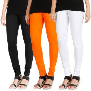 HRINKAR BLACK BRIGHT ORANGE WHITE Soft Cotton Lycra Plain leggings for womens combo Pack of 3 Size - L, XL, XXL - HLGCMB0630-XL