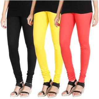 HRINKAR BLACK LIGHT YELLOW PEACH Soft Cotton Lycra Plain womens leggings combo Pack of 3 Size - L, XL, XXL - HLGCMB0607-L