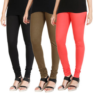 HRINKAR BLACK MEHENDI PEACH Soft Cotton Lycra Plain leggings for girls combo Pack of 3 Size - L, XL, XXL - HLGCMB0598-L