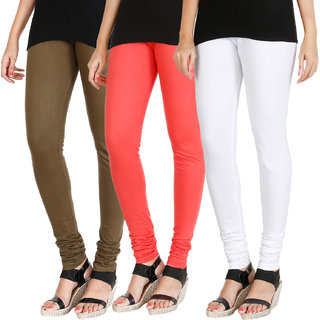 HRINKAR MEHENDI PEACH WHITE Soft Cotton Lycra Plain womens leggings combo Pack of 3 Size - L, XL, XXL - HLGCMB0668-XL