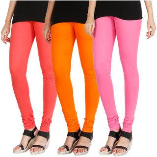 191631b040ea20 Buy HRINKAR PEACH BRIGHT ORANGE LIGHT PINK Soft Cotton Lycra Plain leggings  womens and girls combo Pack of 3 Size - L, XL, XXL - HLGCMB0735-XL Online -  Get ...