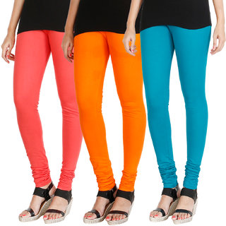HRINKAR PEACH BRIGHT ORANGE BLUE Soft Cotton Lycra Plain leggings for womens combo Pack of 3 Size - L, XL, XXL - HLGCMB0737-L