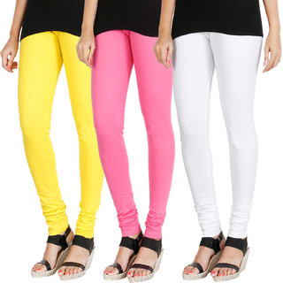 HRINKAR LIGHT YELLOW LIGHT PINK WHITE Soft Cotton Lycra Plain leggings for womens combo Pack of 3 Size - L, XL, XXL - HLGCMB0726-XL
