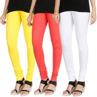 HRINKAR LIGHT YELLOW PEACH WHITE Soft Cotton Lycra Plain leggings for womens combo Pack of 3 Size - L, XL, XXL - HLGCMB0704-XL