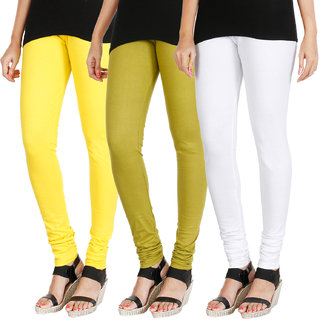 HRINKAR LIGHT YELLOW LIGHT GREEN WHITE Soft Cotton Lycra Plain leggings Pack of 3 Size - L, XL, XXL - HLGCMB0717-XL
