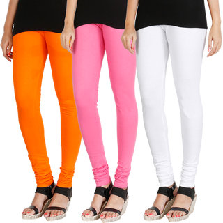 HRINKAR BRIGHT ORANGE LIGHT PINK WHITE Soft Cotton Lycra Plain leggings womens and girls combo Pack of 3 Size - L, XL, XXL - HLGCMB0775-XL