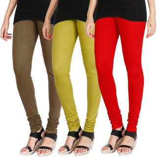 HRINKAR MEHENDI LIGHT GREEN RED Soft Cotton Lycra Plain leggings Pack of 3 Size - L, XL, XXL - HLGCMB0680-L
