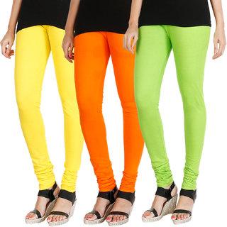HRINKAR LIGHT YELLOW BRIGHT ORANGE FLUROSCENT GREEN Soft Cotton Lycra Plain leggings womens and girls combo Pack of 3 Size - L XL, XXL - HLGCMB0706-L