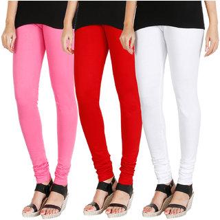 HRINKAR LIGHT PINK RED WHITE Soft Cotton Lycra Plain girls leggings combo Pack of 3 Size - L, XL, XXL - HLGCMB0812-L