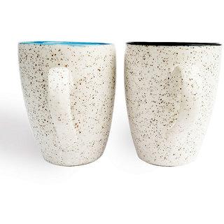 Duo Tone Coffee Mugs-Blue and Black-Set of 2