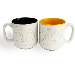 White Marblefinish Duotone Multicolor Coffee Mugs-White and Yellow-Set of 2