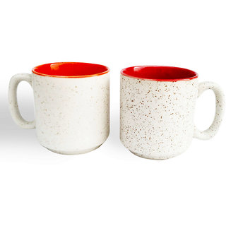 White Marblefinish Duotone Multicolor Coffee Mugs-Red and Orange-Set of 2
