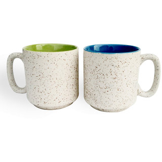 White Marblefinish Duotone Multicolor Coffee Mugs-Green and Blue-Set of 2