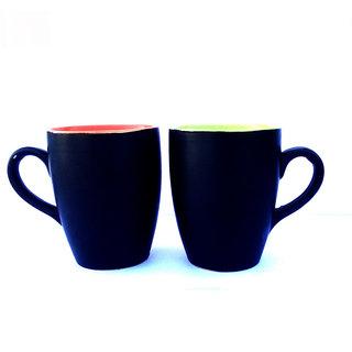 Chi Pink  Green Ceramic Mug set of 2