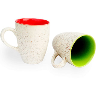 Duo Tone Coffee Mugs-Red and Green-Set of 2
