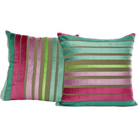 Just Linen Set Of 2 Striped Multicolored Velvet Cushion Covers