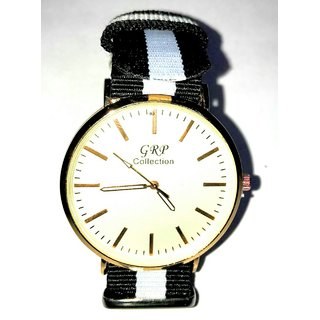 GRP Round Dial Black Leather Strap Mens Watch
