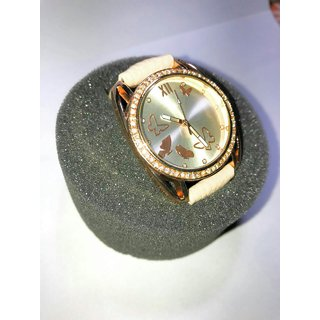 GRP Round Dial White Leather Strap Girls Watch