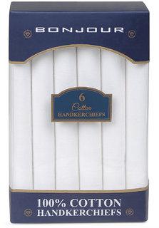 Bonjour Mens Cotton Multicolor Pack of 6 Handkerchief