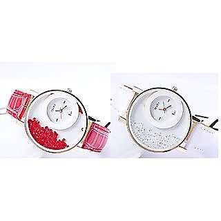 Women Party Wedding White And Red Combo Of 2 Ladies And Girls Watches By Prushti