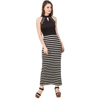 515093042f Buy Texco Women S Black   Grey Striped Lace Detailed Summer Maxi ...