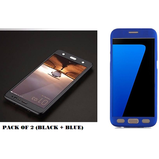 Samsung Galaxy J7 Prime 360 Degree Cover-Full Body Protection (Front+ Back) Case Cover - Black + Blue (Pack Of 2)