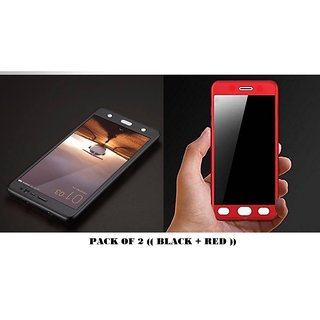 Samsung Galaxy J7 Prime 360 Degree Cover-Full Body Protection (Front+ Back) Case Cover - Black + Red (Pack Of 2)