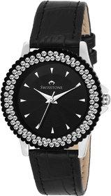 Swisstone VG515BK-BLACK Black Dial Black Leather Strap