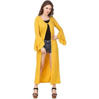 Texco Women'S Yellow Double Layered Ruffled Sleeve Longline Shrug